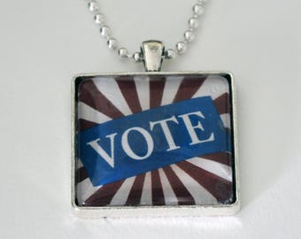 "VOTE Pendant Necklace, 30 mm square, 24"" chain"