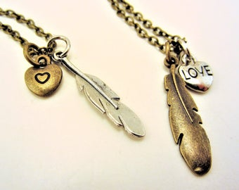 Best friend necklace. Feather necklace. Best friend gift. Heart necklace. Charm necklace. Silver, bronze mixed metal. Feather jewelry.