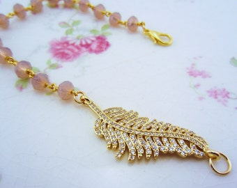 Mothers Day gift, feather bracelet, gold pave bracelet. Pave feather charm. Pink opal bead chain. Bridesmaid gift. Free shipping.