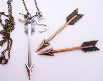 3 best friend necklaces. Arrow necklaces. Best friend gift, 2 or 3 best friend necklaces. Arrow jewelry. Custom necklace. Initial charm.