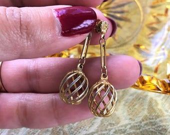Simple gold earrings. Vintage jewelry. Dangle earrings. Simple, lightweight earrings. Cage beads. Gift for women. Drop earrings.
