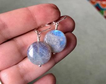 Labradorite earrings, drop earrings, labradorite coin earrings. Blue and silver earrings. Silver earrings dangle. Strength jewelry.