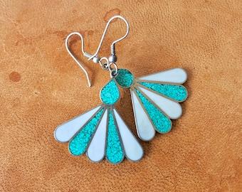 Turquoise blue and silver fan earrings. Alpaca Mexico earrings. Silver dangle earrings. Blue and silver earrings. Vintage silver jewelry.