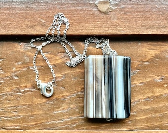 White and black onyx necklace. Striped onyx pendant necklace, statement pendant necklace. Silver and onyx jewelry. Symbol of love gift.