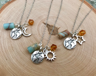 3 best friend necklace. Celestial jewelry, friendship necklace for 3 or 4. Moon, sun, stars necklaces. Globe necklace. Best friend necklace.