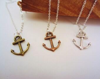 3 best friend necklaces. Anchor necklace. Best friend gift. Friendship necklace, friendship jewelry. 2 or 3 necklaces. Besties necklace.
