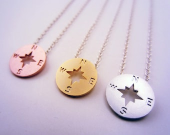 Friendship necklace for 3. Compass necklace, 3 best friend necklace. Set of 3 necklaces. Best friend gift. Friendship jewelry.