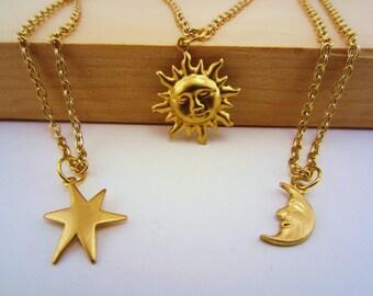 Gold sun, moon, stars best friend set. 3 best friend necklace. Gold charm necklaces. Celestial best friend gift. Friendship necklace.