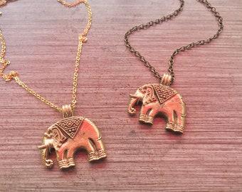 Brass elephant necklace. Gold elephant jewelry. Brass elephant pendant. Gold or bronze chain. Elephant pendant jewelry. Animal lover gift.