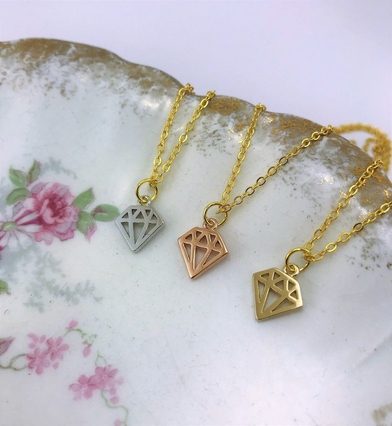 or single diamond necklace Gift for mom. Best friend gift 3 best friend necklace Friendship necklace for 3 best friend jewelry