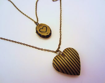 Heart necklace, locket necklace, double lockets. Double strand. Bronze necklace. Four spots for photos. Lightweight jewelry.