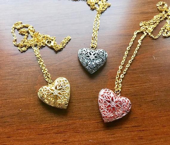 Collier Coeur Brillant Long Collier Avec Pendentif 2 Ou 3 Etsy