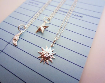 Silver sun, moon, stars necklaces. 2 or 3 best friend necklace. Celestial jewelry. Best friend gift. Tiny charms. Tiny charm necklace.