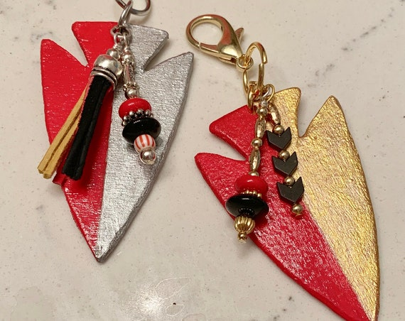 Arrowhead Zipper Pull...Keychain...purse embellishment...sporting bling...game day outerwear bling.