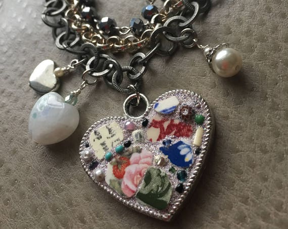 One of a kind Mosaic Heart and beaded bracelet...Dynamic…Eclectic…Artisan H E A R T  created by Jan Bryan-Hunt