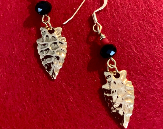 Arrowhead earrings...Game Day earrings...uniquely hammered metal in silver or  gold.