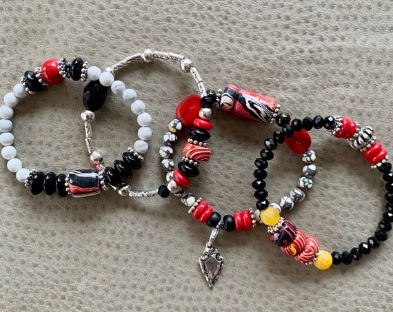K. C. Chiefs-Four Stack Bracelet Set! GAME DAY attire!  4 Bracelets/4 Styles. Get your game day SWAG on!
