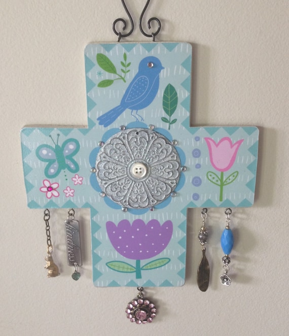 One-of-a-kind, whimsical collaged art cross...designed and created by Jan Bryan-Hunt