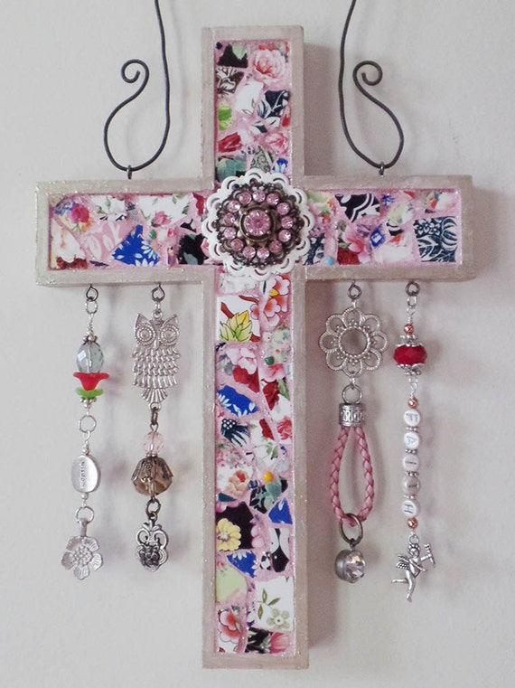 One-of-a-kind, hand-crafted, Mosaic Cross embellished with beads and findings for a fun whimsical style, created by Jan Bryan-Hunt