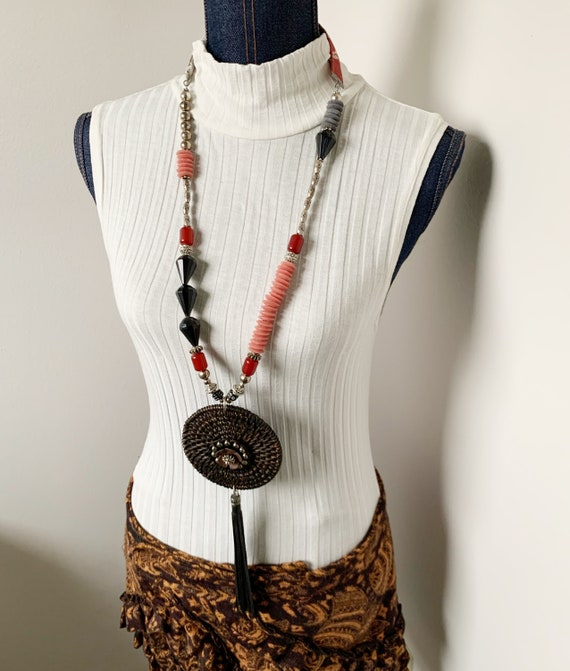 """Long Necklace Statement Jewelry created by Jan Bryan-hunt - """"Ebony Cane"""" is an art to wear piece."""