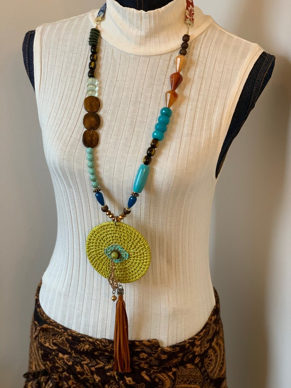 """Long Necklace Statement Jewelry created by Jan Bryan-hunt - """"Green Willow"""" is an art to wear piece."""