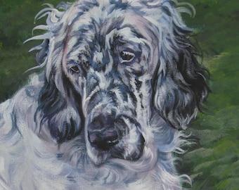 "ENGLISH SETTER dog art portrait canvas PRINT of LAShepard painting 12x16"""