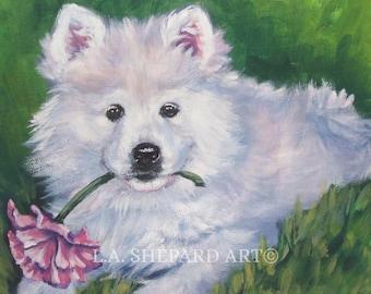 CIRNECO dell/'Etna HOUND dog portrait art canvas PRINT of LAShepard painting 8x10