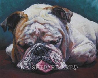 e97e88e8a02 ENGLISH BULLDOG dog art portrait canvas PRINT of LAShepard painting 8x10