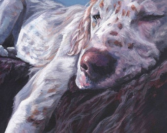 "English SETTER DOG art portrait canvas PRINT of LAShepard painting 11x14"""