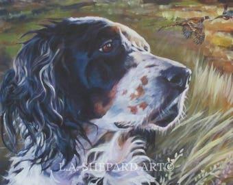 "ENGLISH SETTER PORTRAIT dog art canvas print of LAShepard painting 8x10"""