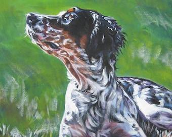 "Llewellin ENGLISH SETTER dog art canvas PRINT of LAShepard painting 8x10"""
