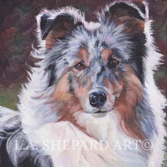 Shetland Sheepdog Typographic Watercolor Painting Sheltie Gift and Dog Portrait Sheltie Memorial Shetland Sheepdog Art Sheltie Art Print