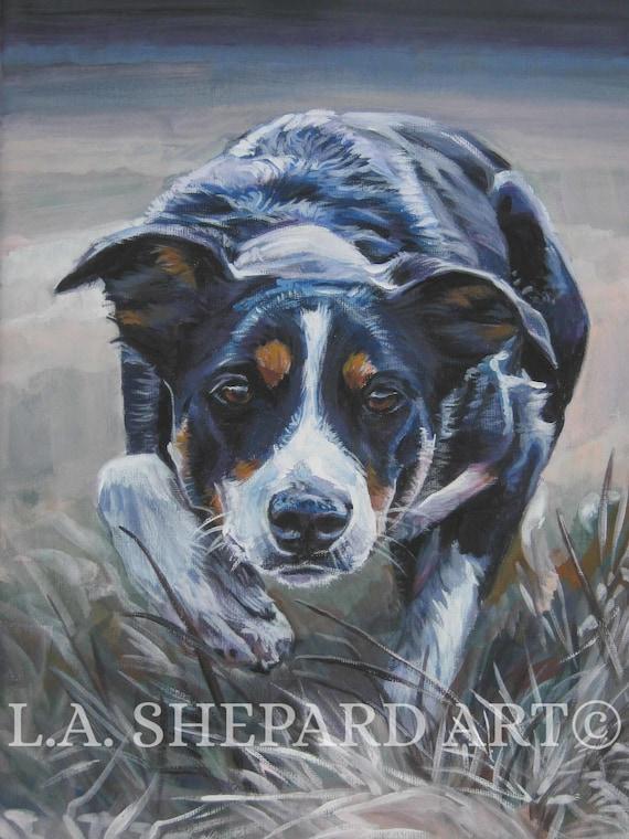 BORDER COLLIE dog art portrait canvas PRINT of LAShepard painting 11x14