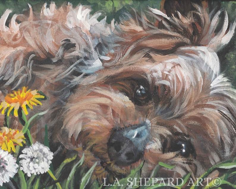 Yorkshire Terrier YORKIE DOG ART canvas print of LAShepard painting 12x16