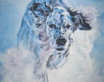 English Setter DOG art PORTRAIT canvas PRINT of LAShepard painting 8x10