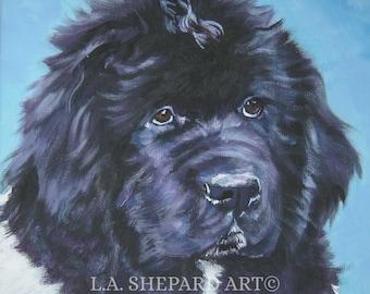 LANDSEER Newfoundland dog art portrait canvas PRINT of LA Shepard painting 12x12