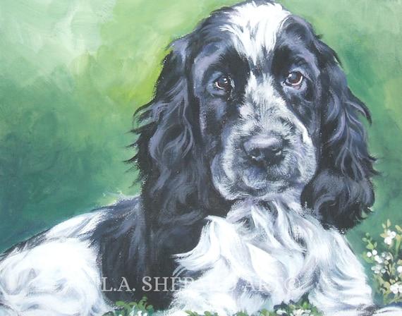 American Cocker SPANIEL DOG art portrait Canvas PRINT of painting by LAShepard 8x10