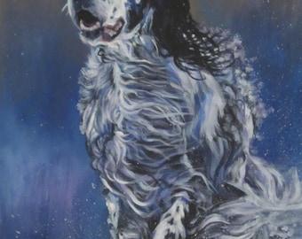 "English SETTER dog ART canvas PRINT of LAShepard painting 12x16"""
