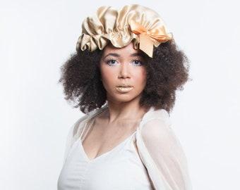 Gold Sleep Cap, Silk Sleeping Bonnet, Natural Hair Care, Curly Hair Products, African American, Kinky Curly Hair, Silk Charmeuse Head Scarf