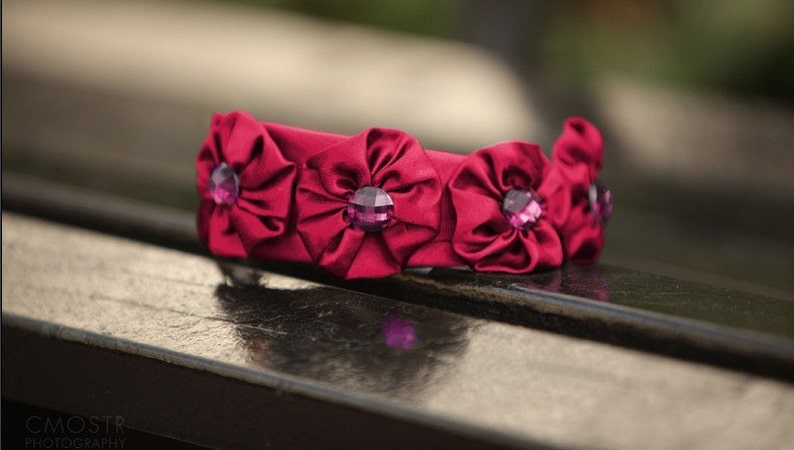 Pink Satin Headband Spring Headband Pink Jewel Accessories image 0