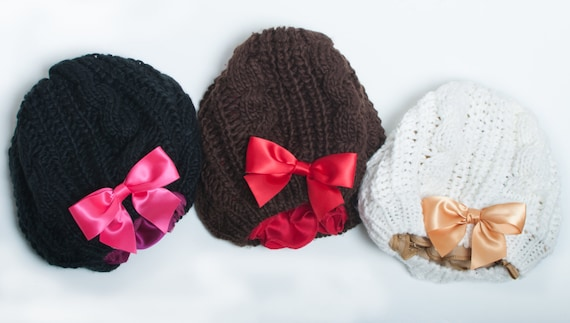 Winter Knit Hats Silk Lining Hats Hat With Bow Holiday Etsy