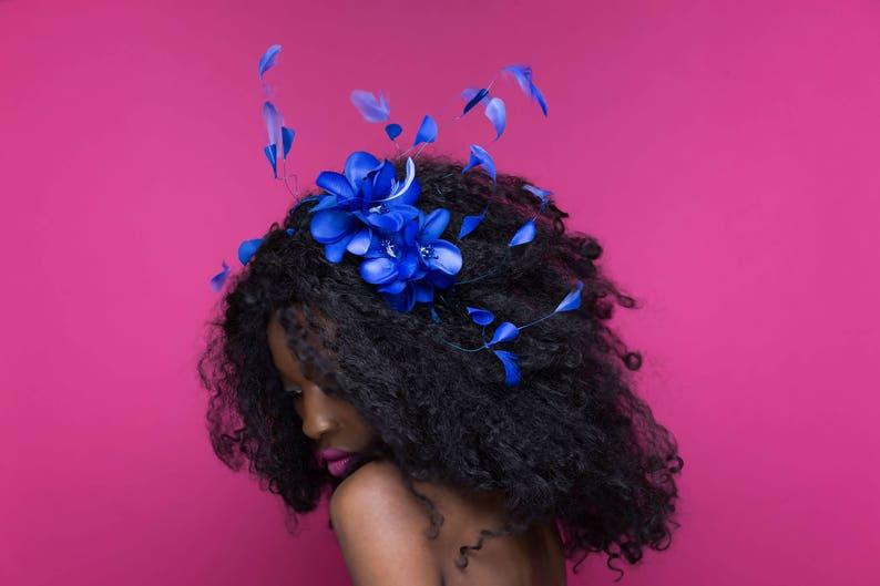 Royal Blue Headband Flower Headpiece Summer Accessories image 0