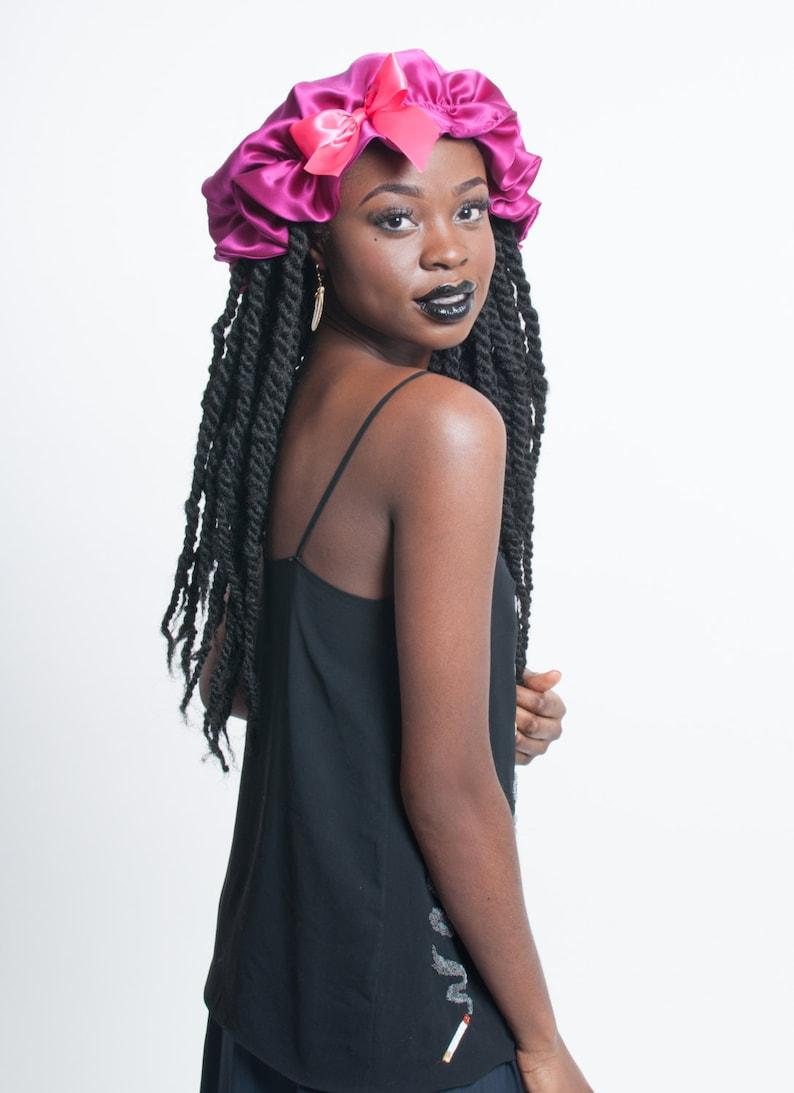 Pink Silk Sleep Bonnet for Dreadlocks Braids Twists image 0