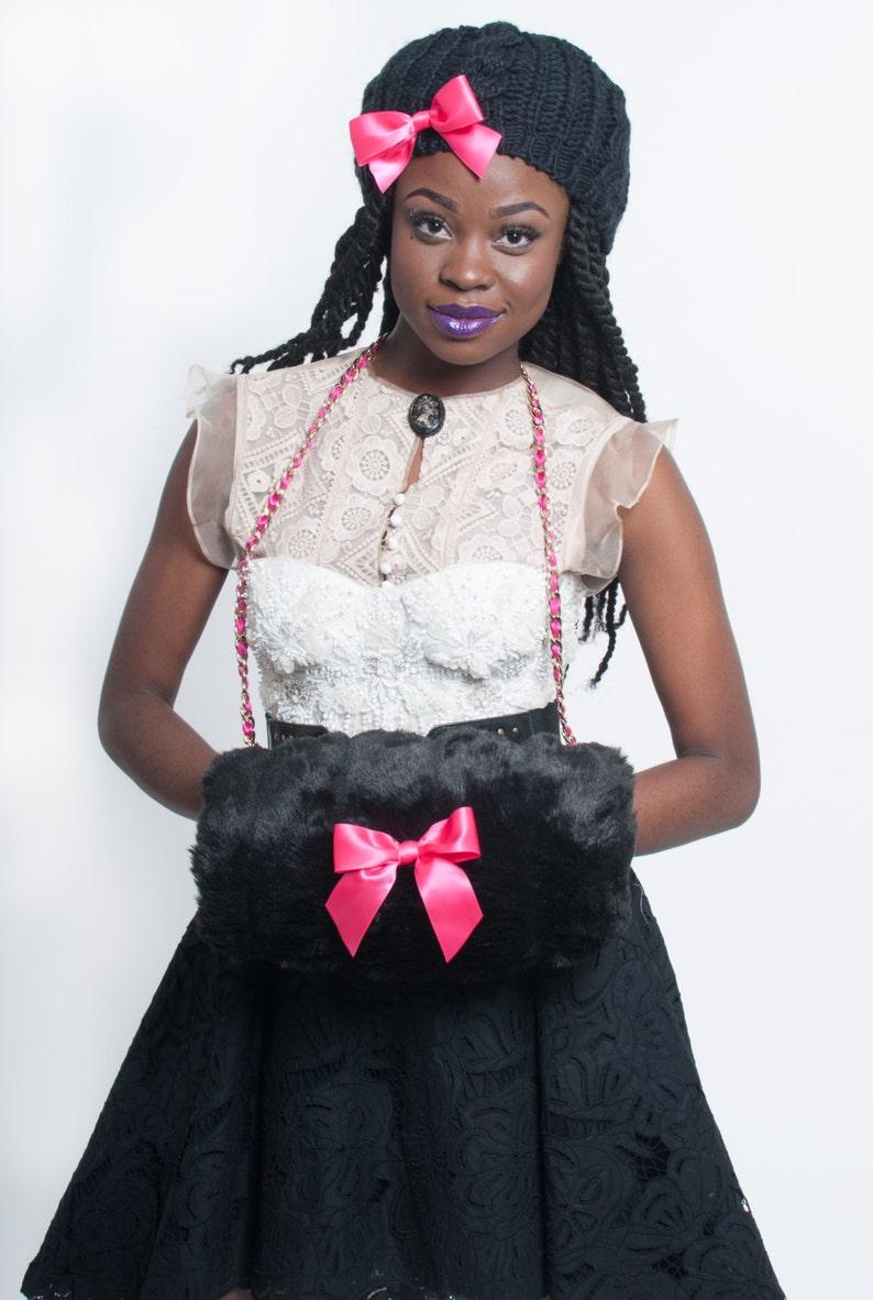 Faux Mink Handwarmer Black & Pink Winter Fashion image 0