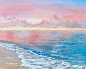 Seascape painting blue pink purple rainbow ocean water cotton candy sky clouds handpainted artwork