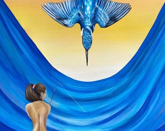 King and Lady Fisher painting kingfisher bird diving water parted thing big booty woman fishing sexy girl artwork original painting