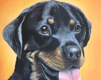 Pet Portrait hand painted custom pet painting example Rotweiler yellow orange background example animal painting