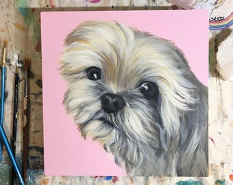Custom Pet Portrait on Wood Board 8x8 hand painted perfect Mother's Day Gift Dog mom