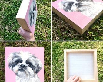 Custom Pet Portrait on Wood Board 8x8 hand painted