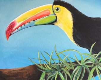 Toucan bird keel-billed toucan hand painted acrylic paint on canvas tropical bird jungle bird painting